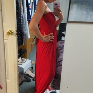 Dresses & Skirts - RED SHIRRED BANDEAU MAXI DRESS